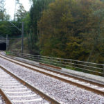 After : the new concrete made sleepers in front of the tunnel in Cruchten