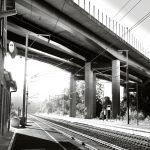 Der Bahnhof von Colmar-Berg kurz nach Sonnenaufgang
