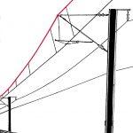 Tragseil: parallel laufender Draht zur Befestigung des Fahrdrahts