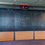 Le mur d'images : vue synoptique de l'état du réseau ferré électrifié du Grand Duché, subdivisé en 5 zones : Walferdange-Troisvierges/Frontière, Walferdange-Bettembourg/Frontière, Berchem-Wasserbillig/Frontière, Huncherange-Rodange/Frontière et Luxembourg-Kleinbettingen/Frontière. Plus de 1 400 appareils de coupure sont sous la responsabilité du CSS.