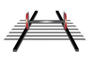 Durant le trajet, uniquement la surface de roulement des roues est en contact avec les rails.