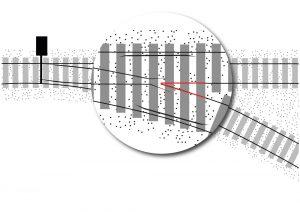 Les différentes voies ferrées confluent dans le cœur d'aiguillage, partie particulièrement sollicitée de l'aiguille.