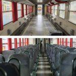Um den Kundenkomfort zu garantieren werden die Sitze, samt Rahmen, ausgebaut, gewaschen und nach Bedarf repariert. Bevor die Sitze wieder eingebaut werden, wird der Boden gereinigt. Auch die Vorhänge werden zu diesem Zeitpunkt demontiert, gewaschen und wieder montiert.