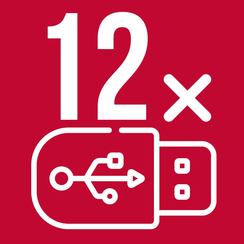 12 prises USB disponibles pour chaque bus