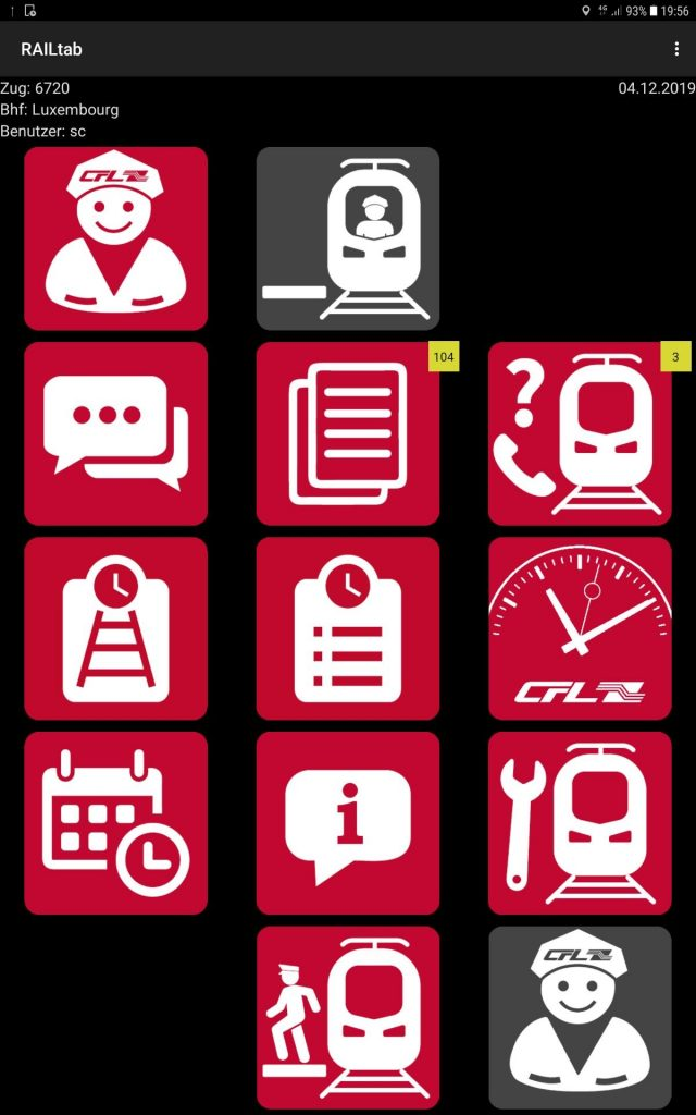The start page of the RAILtab app displays a series of data and tools, which are listed in individual areas (red icons)